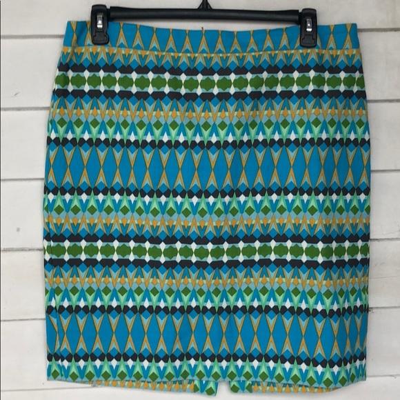 J. Crew Dresses & Skirts - J crew pencil skirt blue striped 14 knee length